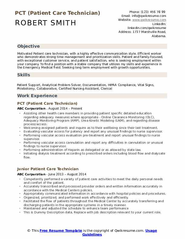 patient care technician resume samples qwikresume free template for term employment pdf Resume Free Resume Template For Long Term Employment