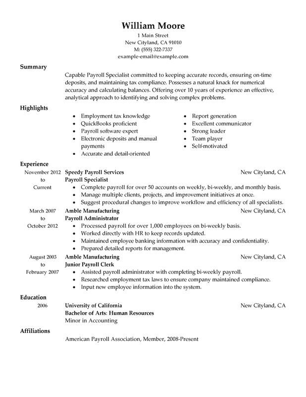 payroll specialist resume examples created by pros myperfectresume template accounting Resume Payroll Resume Template