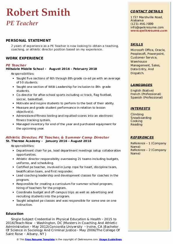 pe teacher resume samples qwikresume physical education skills pdf template sharelatex Resume Physical Education Teacher Skills Resume