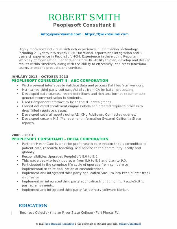 peoplesoft consultant resume samples qwikresume workday template pdf free certifications Resume Workday Resume Template