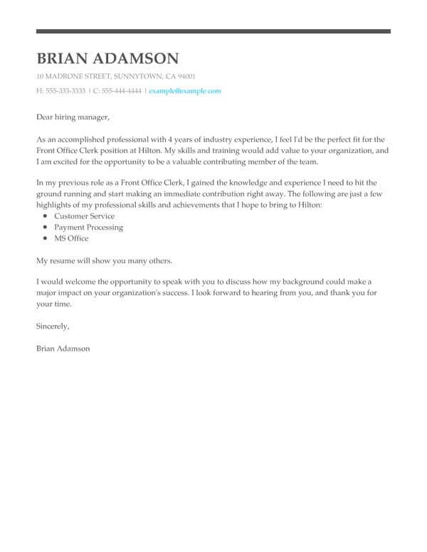 perfect cover letter templates my resume awesome letters for resumes front office clerk Resume Awesome Cover Letters For Resumes