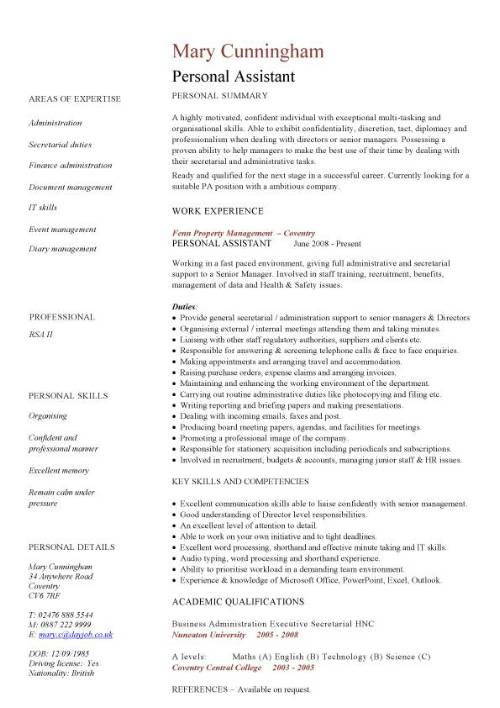 personal assistant cv sample resume examples pic template med surg example of work skills Resume Personal Assistant Resume Examples