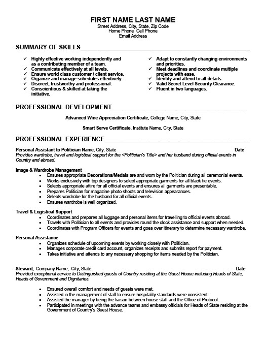 personal assistant resume template premium samples example examples hospitality skills Resume Personal Assistant Resume Examples