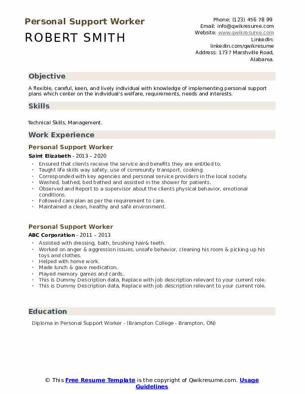 personal support worker resume samples qwikresume skills pdf another word for volunteer Resume Personal Support Worker Skills Resume