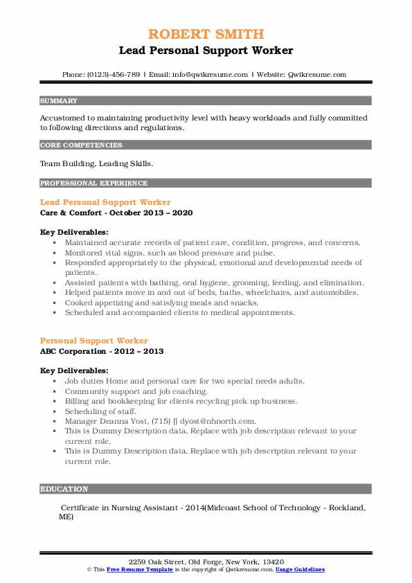 personal support worker resume samples qwikresume skills pdf with software customer Resume Personal Support Worker Skills Resume