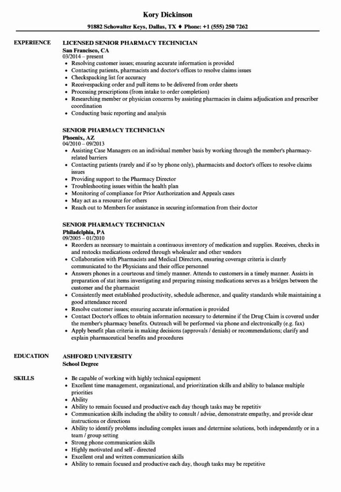 pharmacy technician resume example awesome senior samples examples employee handbook Resume Senior Technician Resume