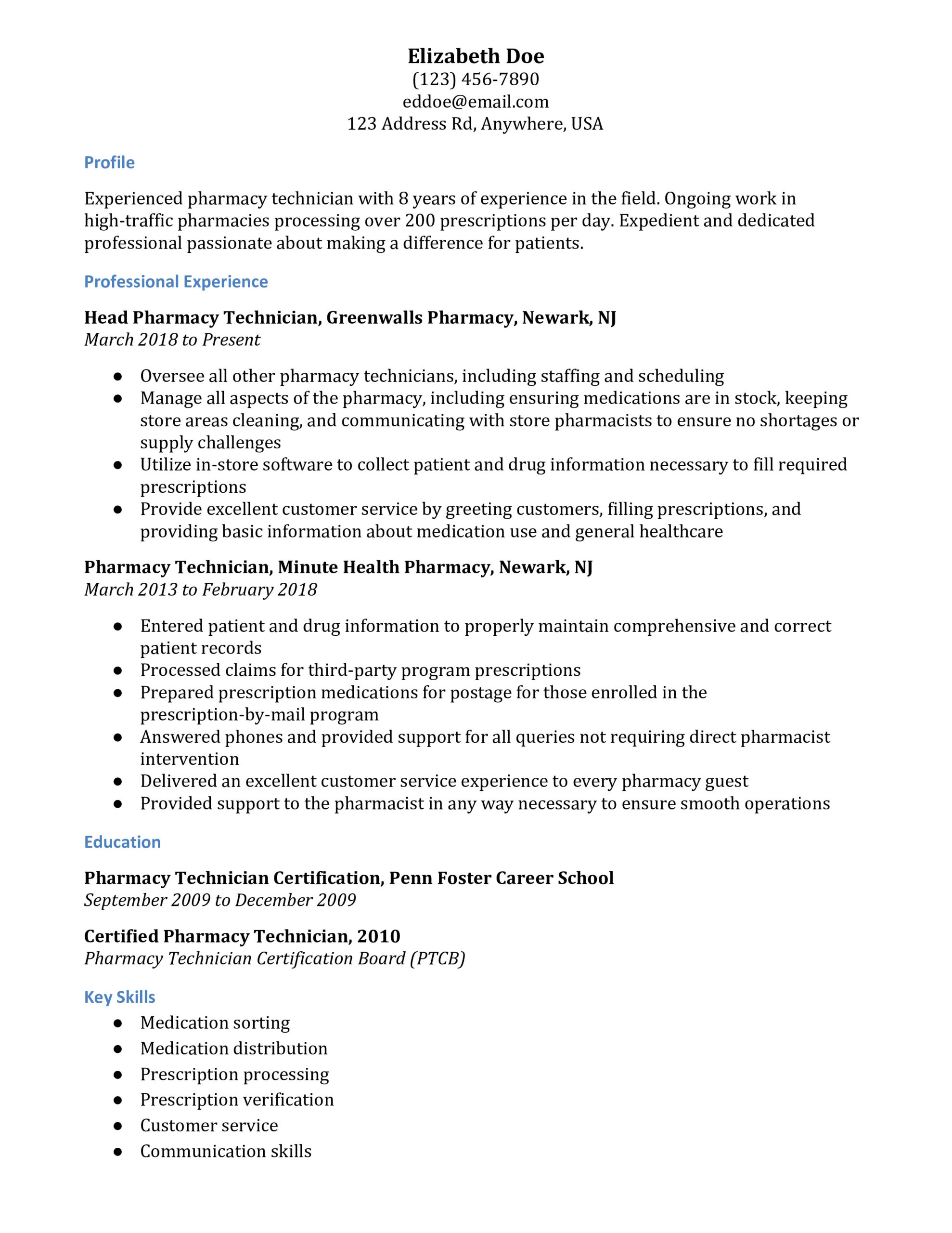 pharmacy technician resume examples resumebuilder example leasing agent sample personal Resume Pharmacy Technician Resume Example