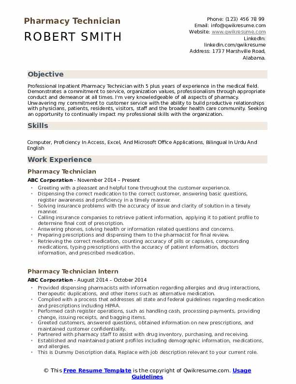 pharmacy technician resume samples qwikresume example pdf personal objective for finance Resume Pharmacy Technician Resume Example