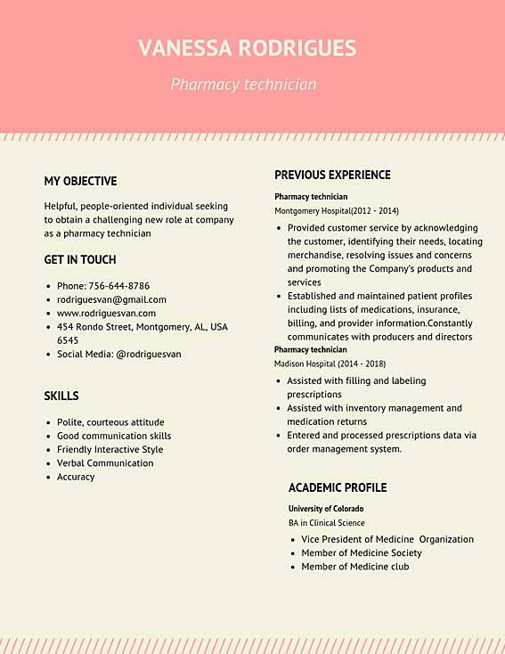 pharmacy technician resume samples templates pdf resumes bot example vanessa rodrigues Resume Pharmacy Technician Resume Example