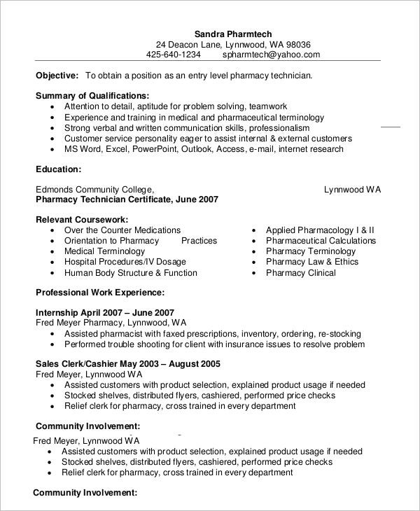 pharmacy technician resume templates pdf free premium example entry level pilot cleaning Resume Pharmacy Technician Resume Example