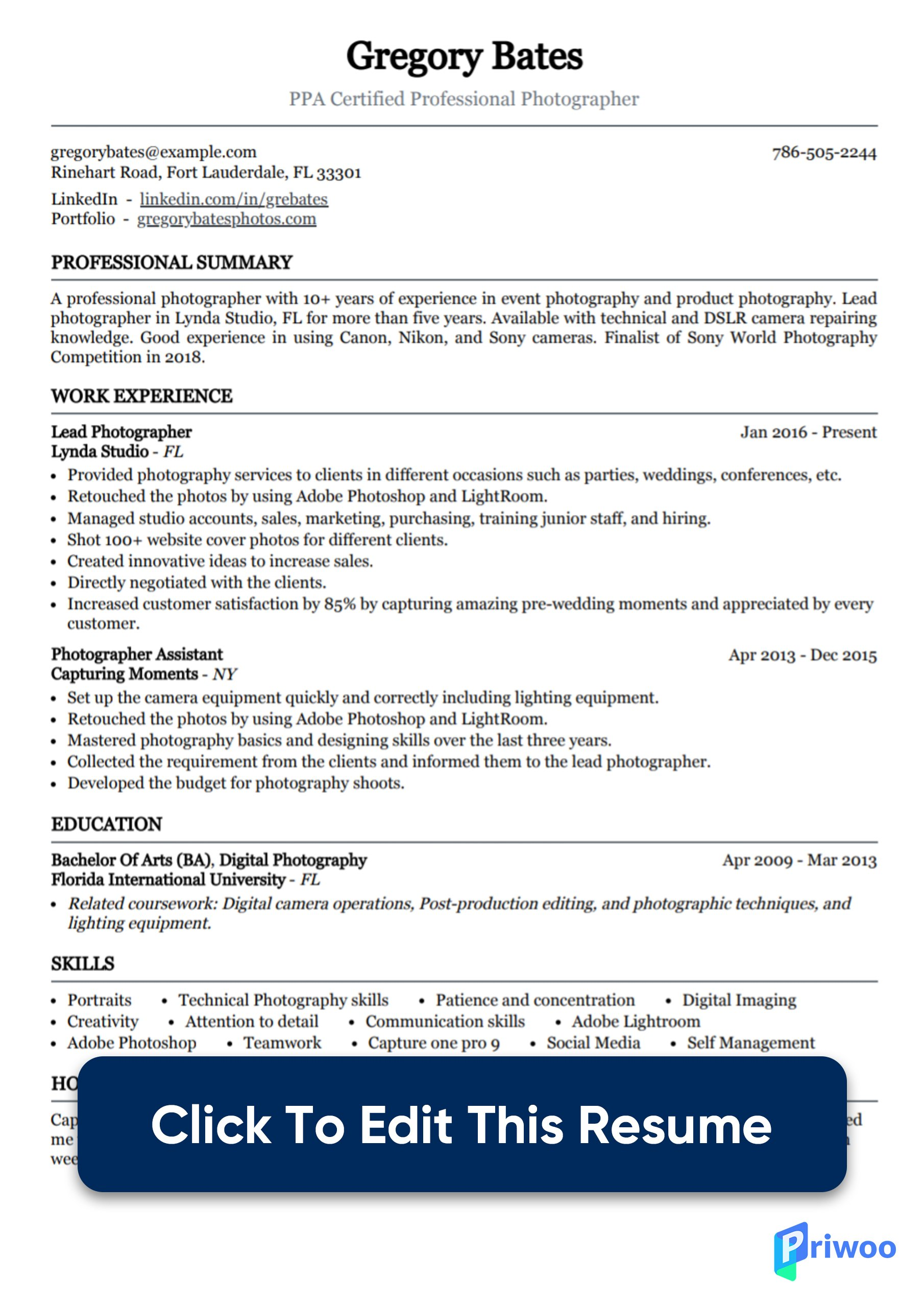 photographer resume example with photography tips priwoo for beginners sample medical Resume Photography Resume For Beginners