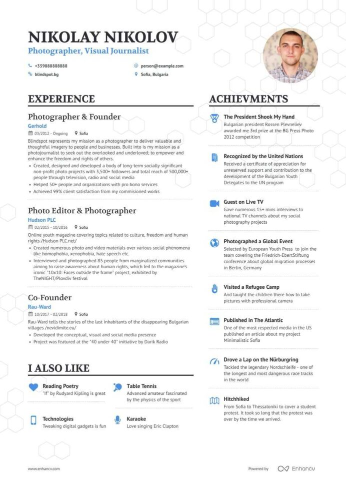 photographer resume samples and writing guide for enhancv photography beginners letter of Resume Photography Resume For Beginners