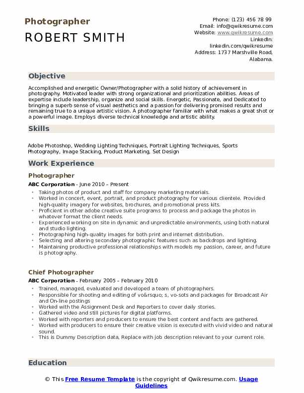 photographer resume samples qwikresume photography for beginners pdf template leadership Resume Photography Resume For Beginners