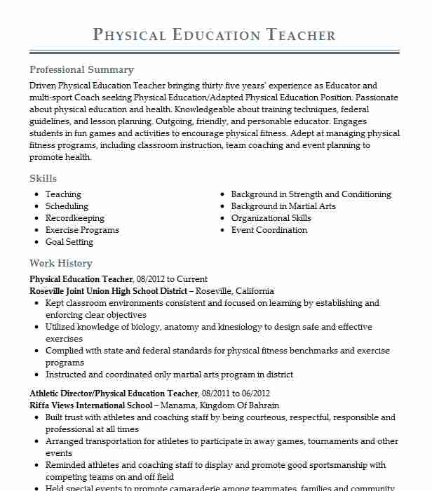 physical education teacher resume example resumes misc livecareer minimalist design Resume Physical Education Teacher Skills Resume