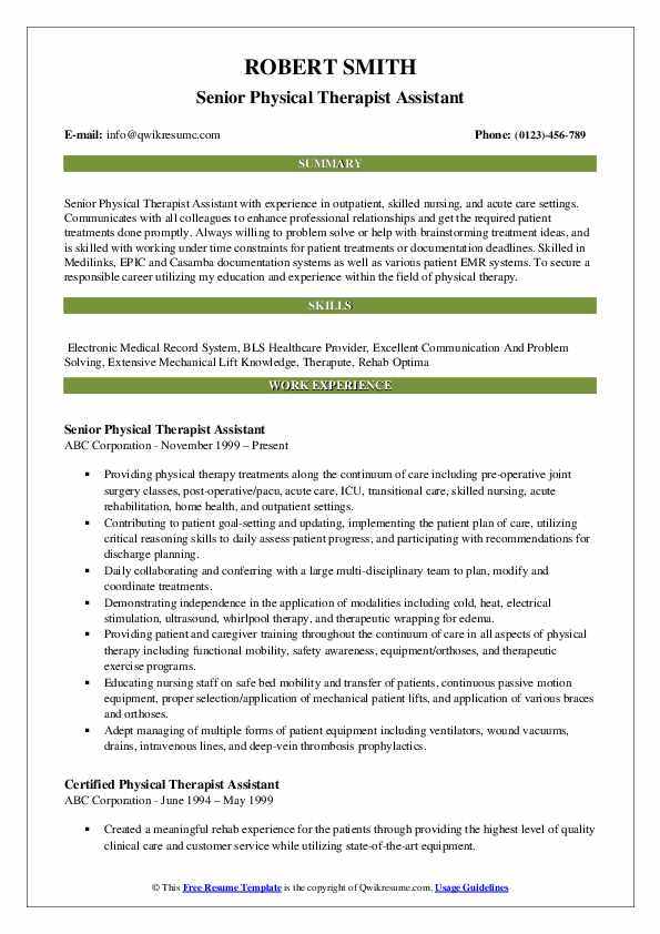physical therapist assistant resume samples qwikresume job description for pdf title Resume Physical Therapist Assistant Job Description For Resume