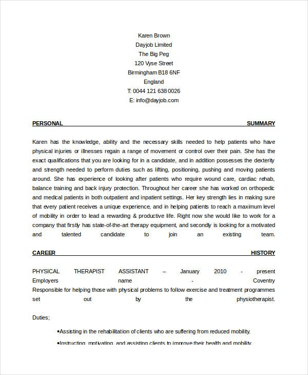 physical therapist resume free word pdf documents premium templates therapy assistant Resume Physical Therapy Resume Templates Free