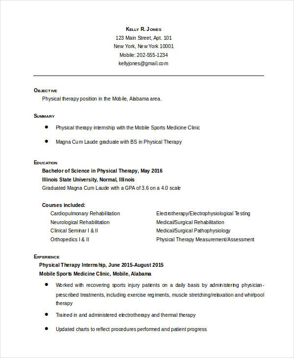 physical therapist resume free word pdf documents premium templates therapy entry level Resume Physical Therapy Resume Templates Free