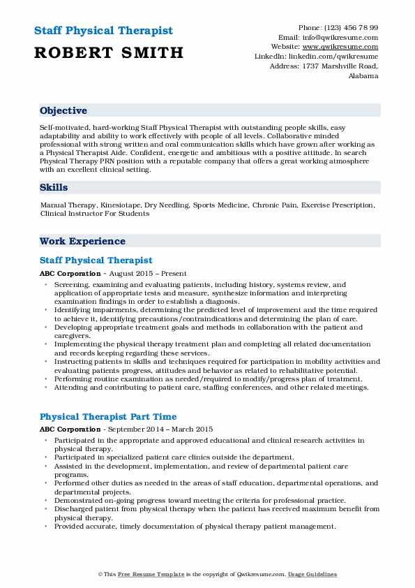 physical therapist resume samples qwikresume therapy templates free pdf skills for Resume Physical Therapy Resume Templates Free