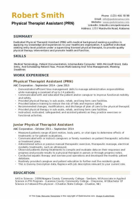 physical therapy resume examples lovely therapist assistant res occupational professional Resume Physical Therapist Assistant Resume Professional Summary
