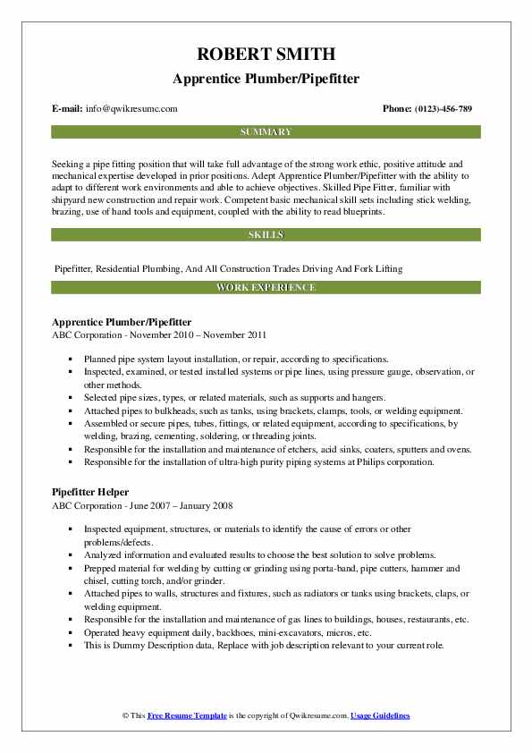 pipefitter resume samples qwikresume description for pdf salesforce admin projects orb Resume Pipefitter Description For Resume