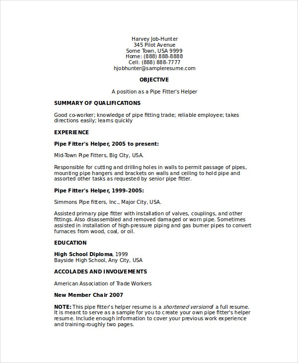 pipefitter resume template free word documents premium templates mechanical fitter helper Resume Mechanical Fitter Resume