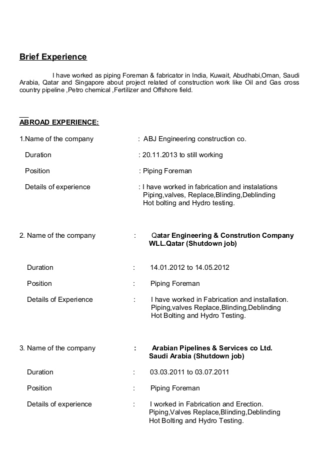 piping foreman resume supervisor word format for little work experience thoughts Resume Piping Supervisor Resume Word Format