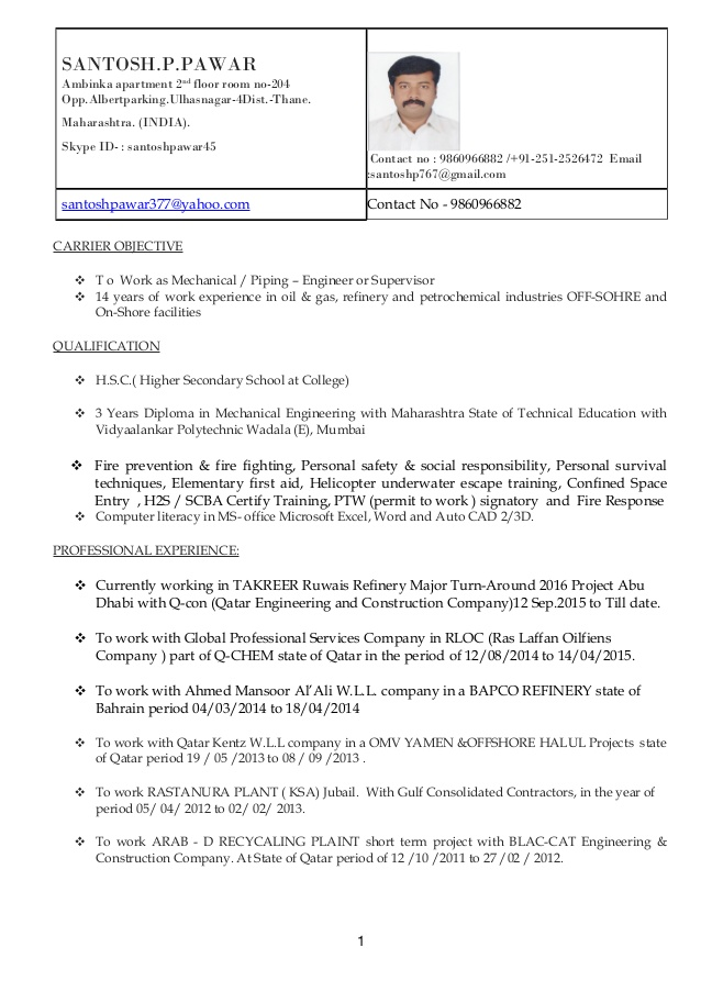 piping supervisor resume engineer oil and gas thumbnail sample for teachers without Resume Piping Supervisor Resume Word Format