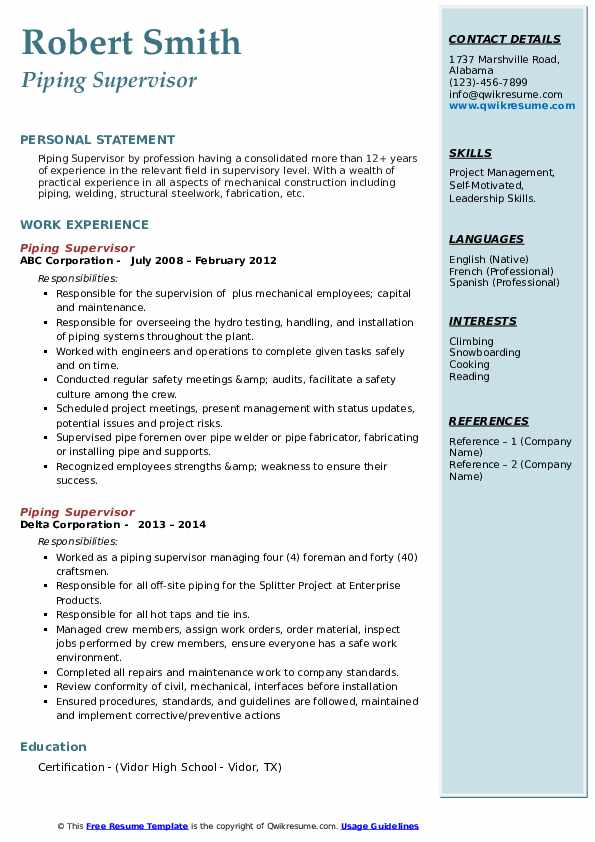 piping supervisor resume samples qwikresume word format pdf for little work experience Resume Piping Supervisor Resume Word Format