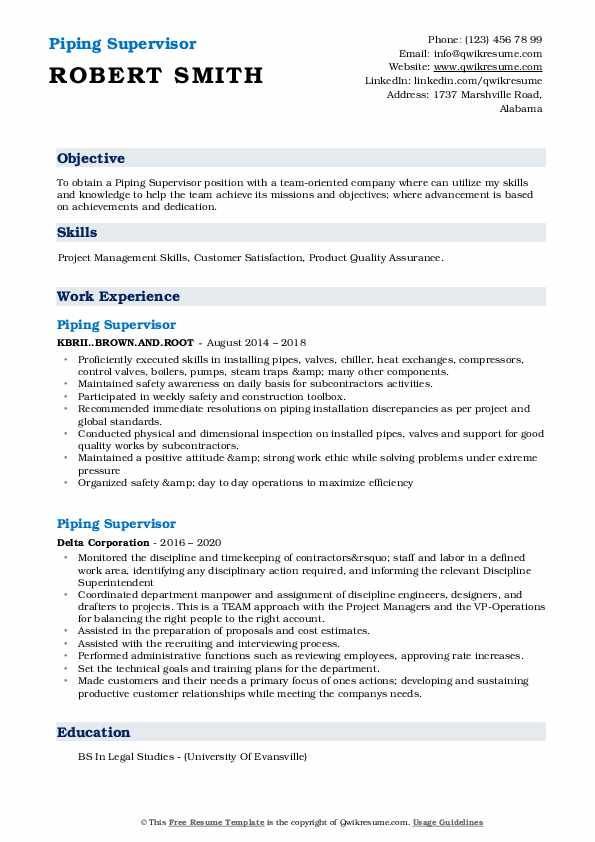 piping supervisor resume samples qwikresume word format pdf for service manager graphic Resume Piping Supervisor Resume Word Format