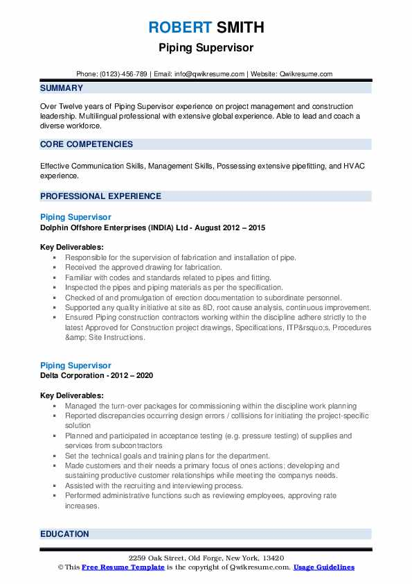 piping supervisor resume samples qwikresume word format pdf for service manager rpa Resume Piping Supervisor Resume Word Format