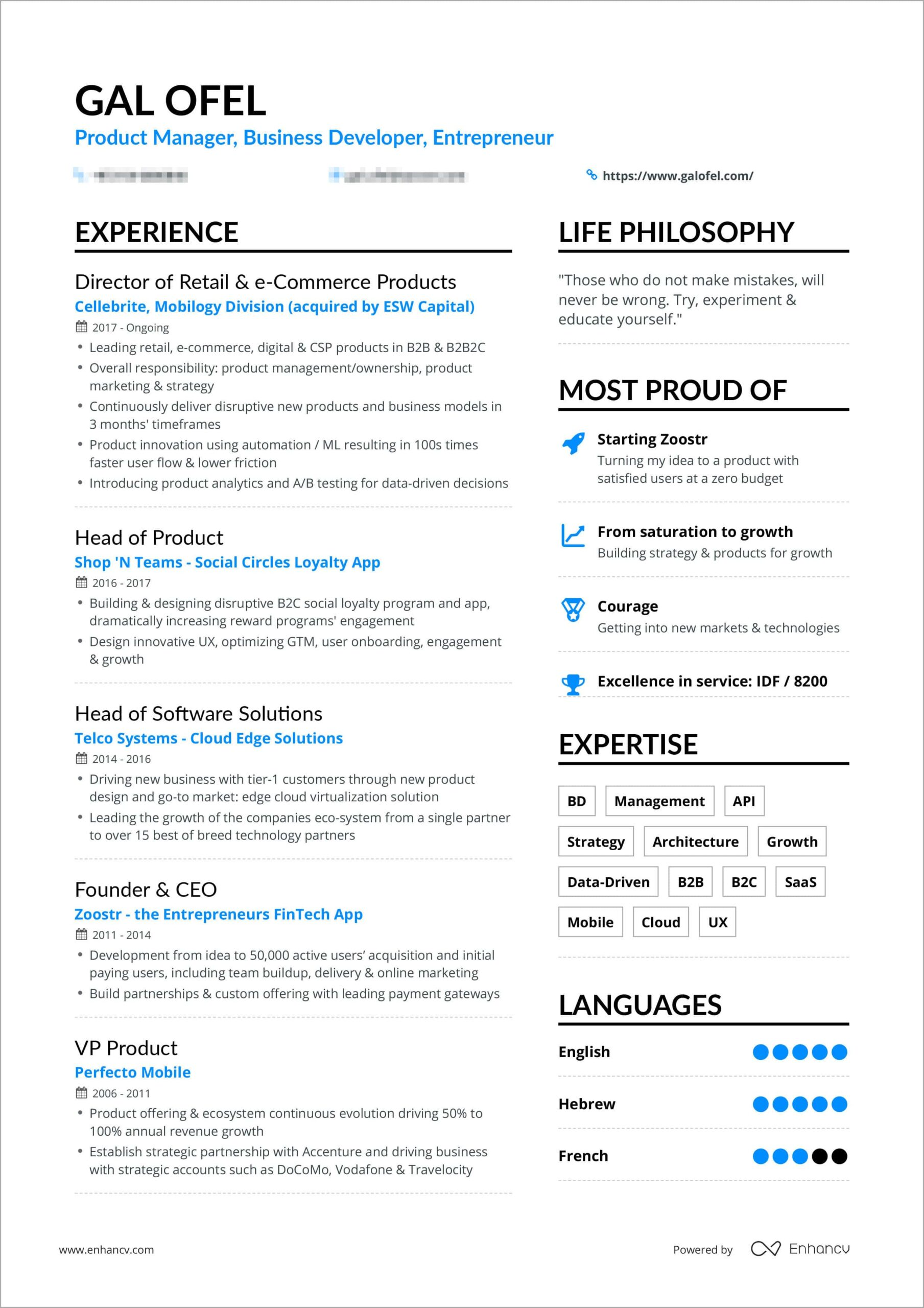 powerful one resume examples you can use now format galofelresume bordered creative Resume One Page Resume Format