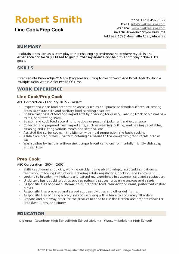 prep resume samples qwikresume line job description for pdf seo functional template Resume Line Cook Job Description For Resume
