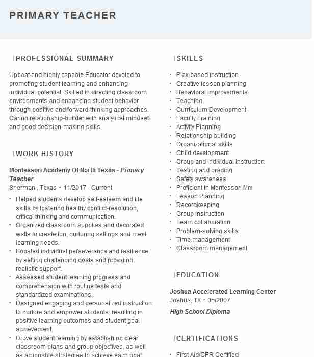 primary teacher resume example resumes livecareer casual teaching template hair stylist Resume Casual Teaching Resume Template
