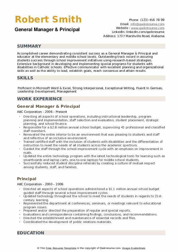 principal resume samples qwikresume school format pdf evaluation federal writing services Resume School Principal Resume Format
