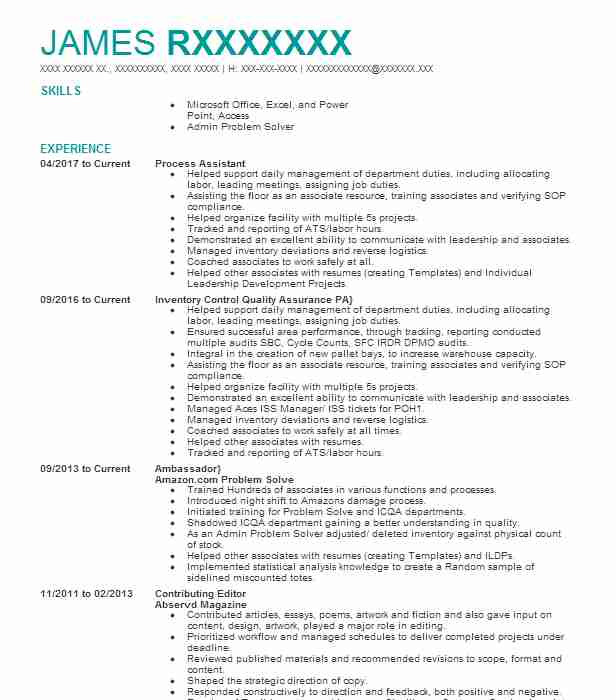 process assistant resume example company name veteran organizational skills on examples Resume Process Assistant Resume