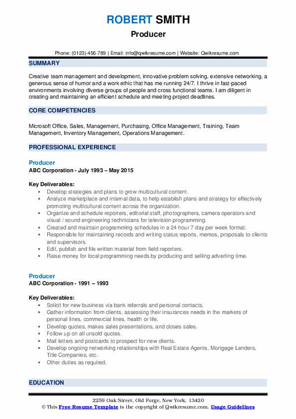 producer resume samples qwikresume commercial pdf fitness manager objective examples Resume Commercial Producer Resume