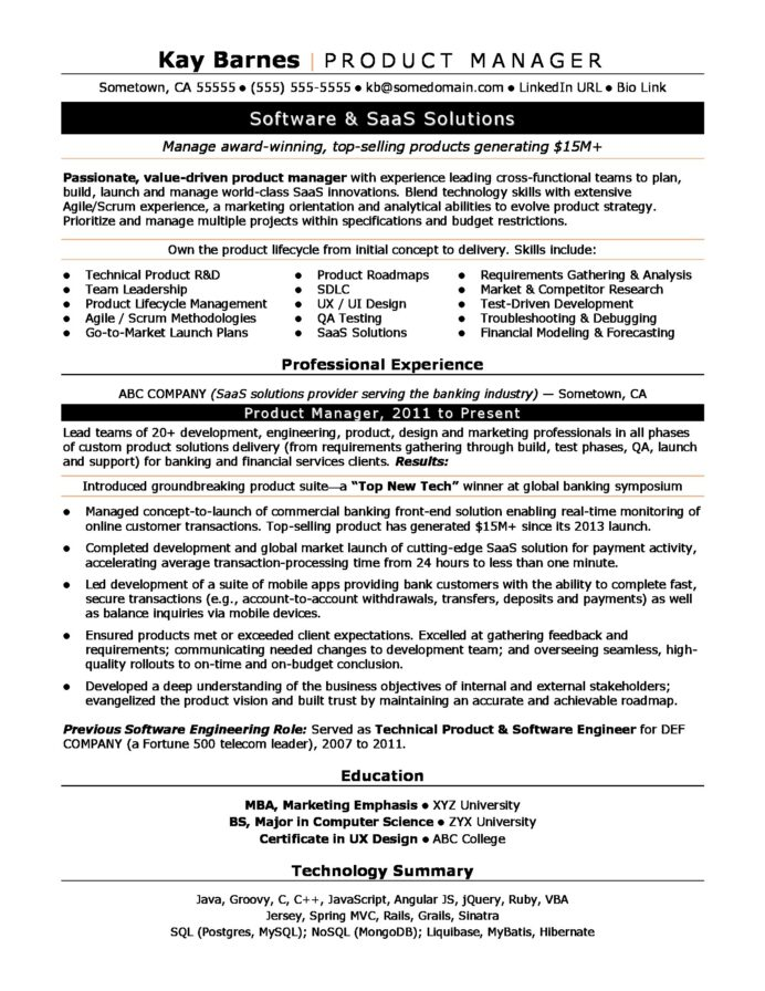 product manager resume sample monster productmanager software developer examples Resume Product Manager Resume Sample