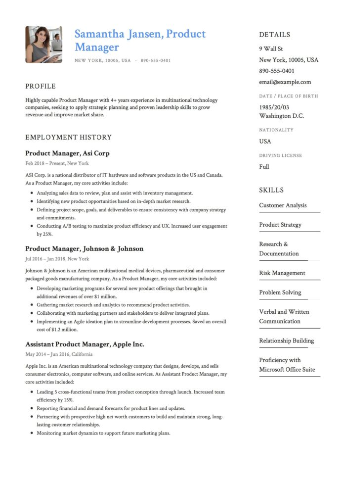product manager resume sample template example cv formal design examples guide package Resume Product Manager Resume Template