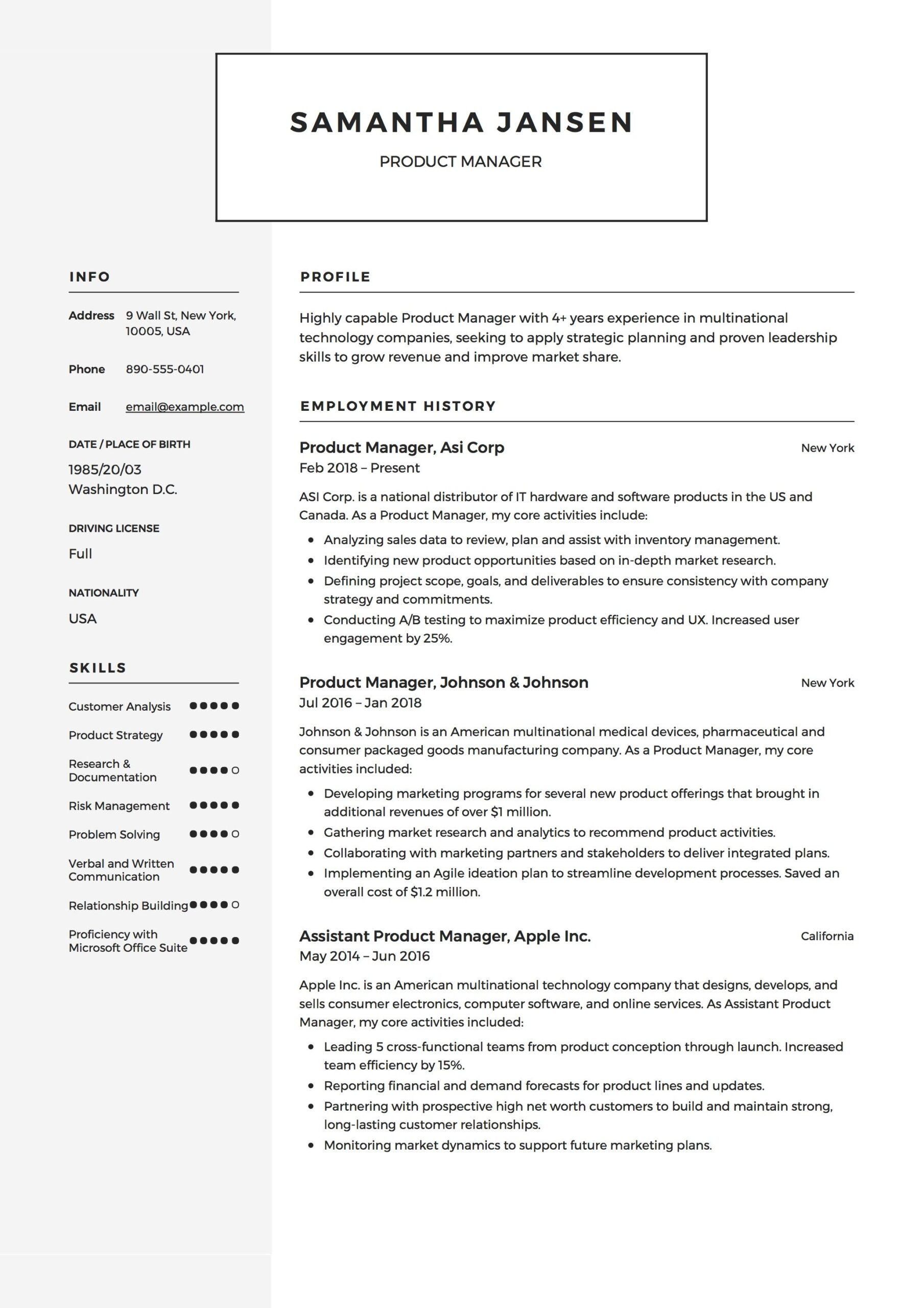 product manager resume sample template example cv formal design examples pdf asset Resume Product Manager Resume Template