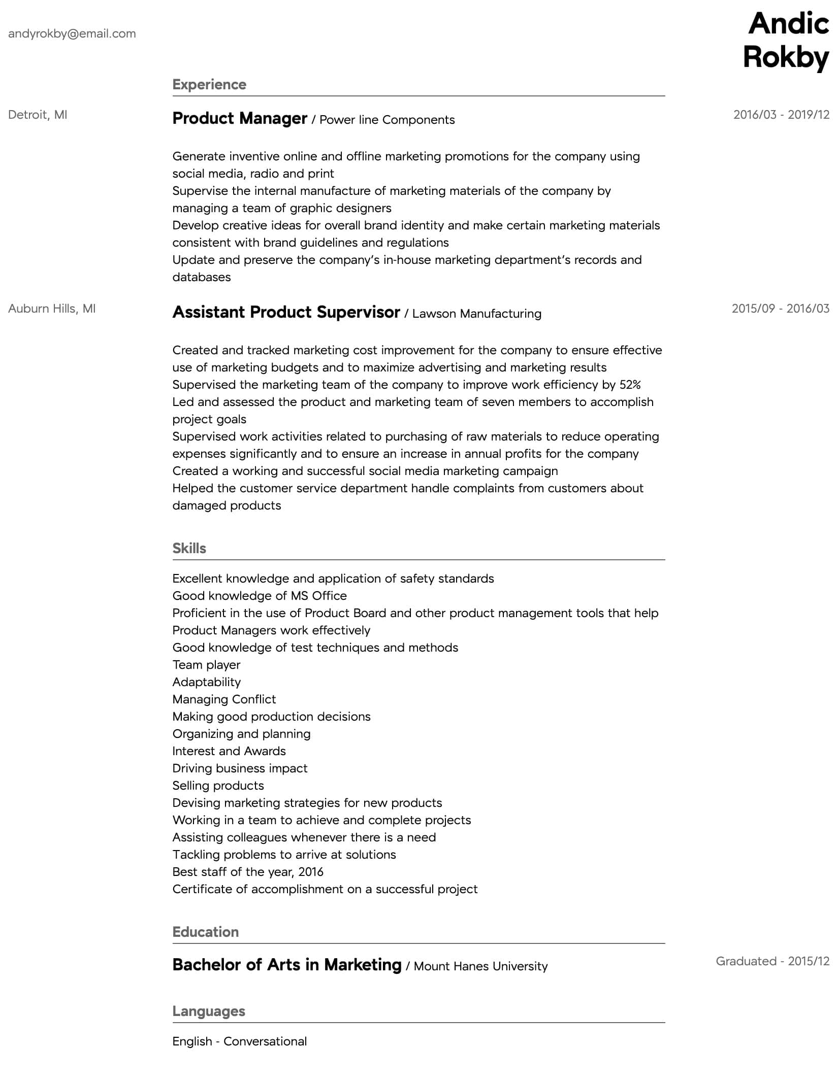 product manager resume samples all experience levels template intermediate attributes for Resume Product Manager Resume Template