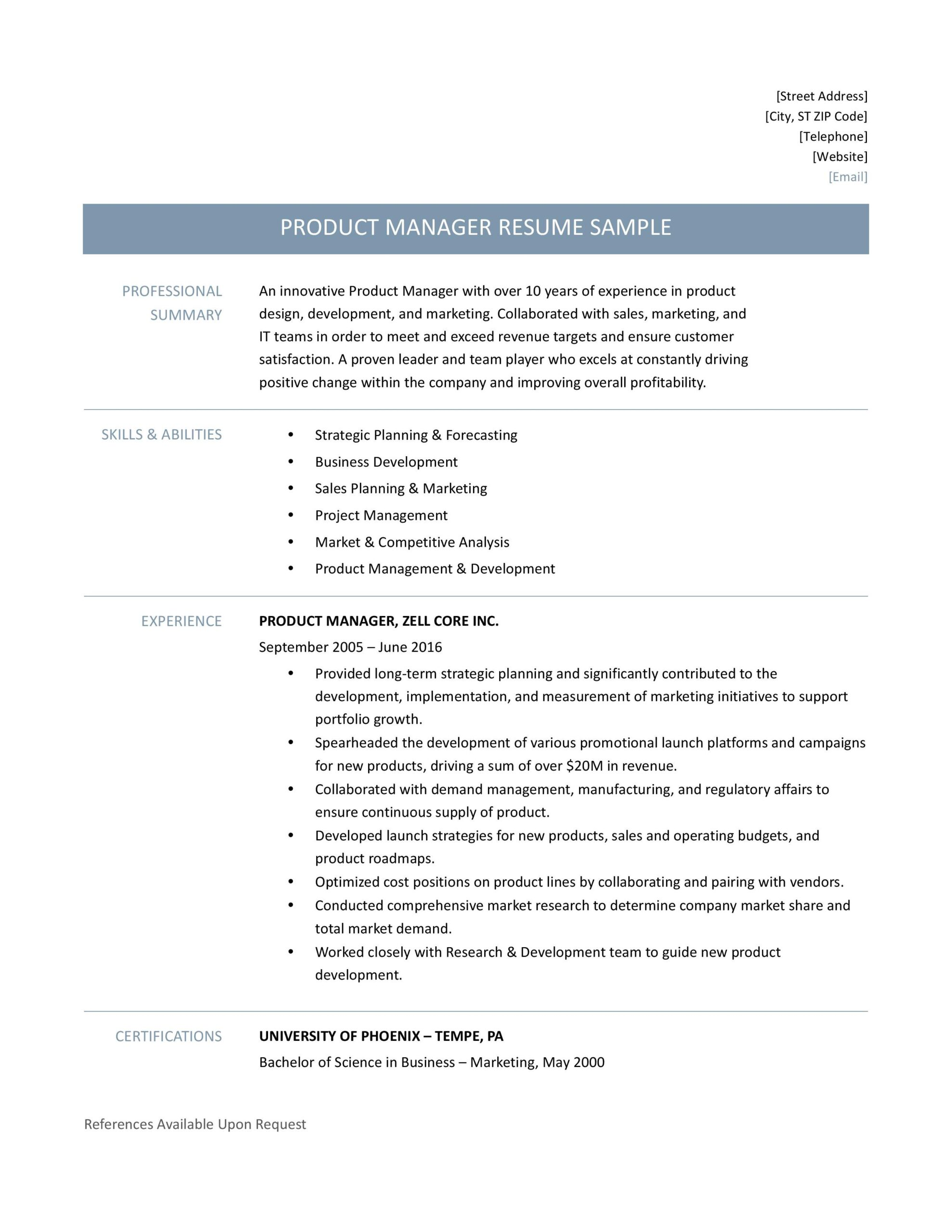 product manager resume samples template and job description by builders medium Resume Product Manager Resume Template