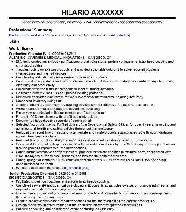 production chemist resume example eaglepicher rangeline facility granby sample cover Resume Production Chemist Resume Sample