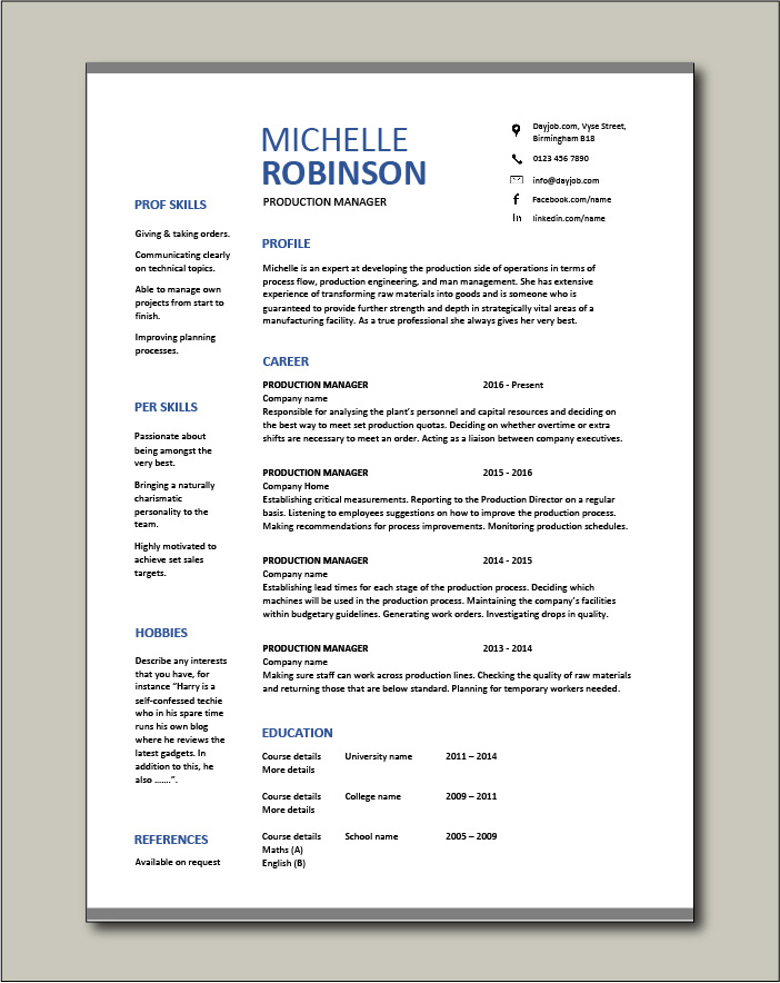 production manager resume samples examples template job description workflow garment Resume Garment Factory Manager Resume