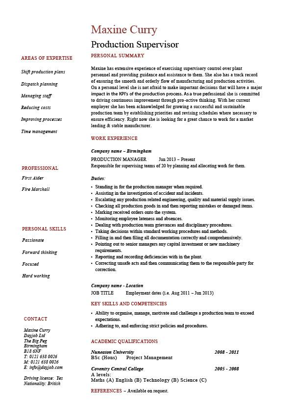 production supervisor resume sample example template job description process professional Resume Title For Resume For Experienced