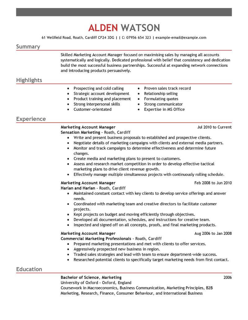 professional account manager resume examples marketing livecareer sample emphasis Resume Account Manager Resume Sample