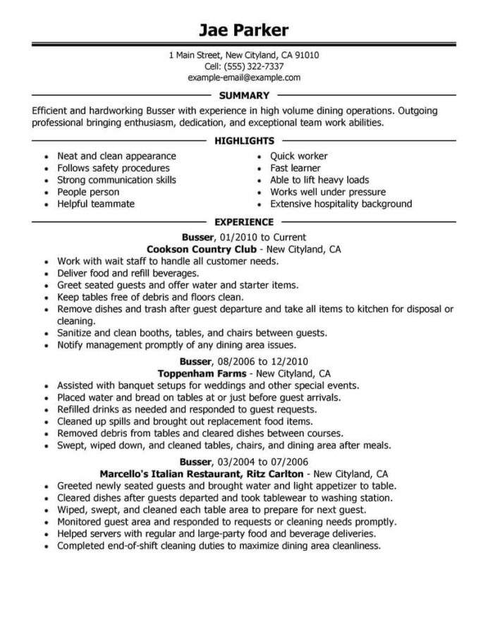 professional busser resume examples food service livecareer an example of for job media Resume An Example Of A Resume For A Job