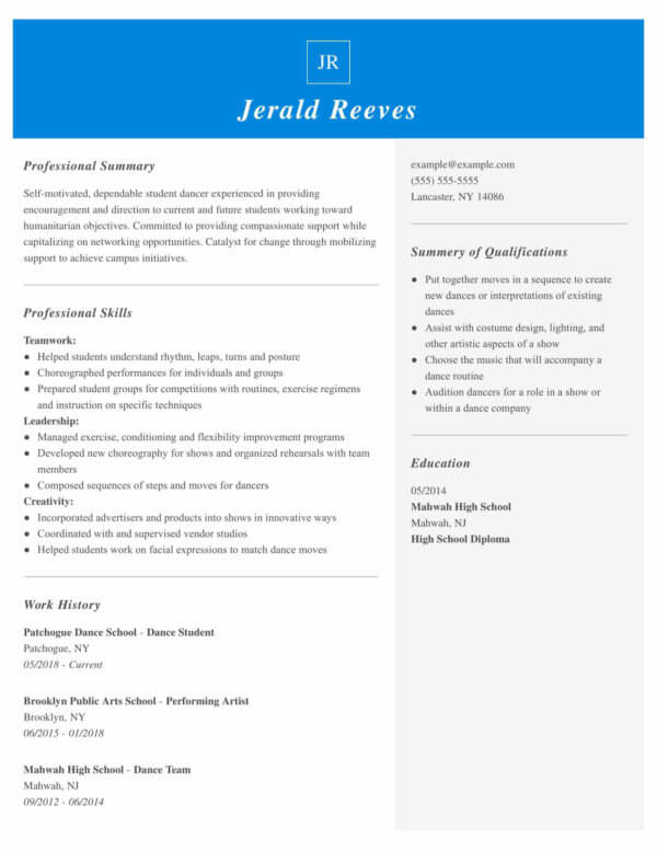 professional dance resume examples livecareer child for audition student marketing Resume Child Dance Resume For Audition