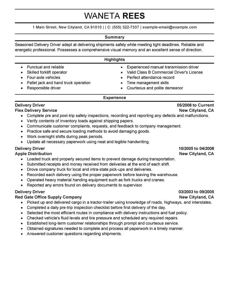 professional delivery driver resume examples driving livecareer for job transportation Resume Resume For Driver Job