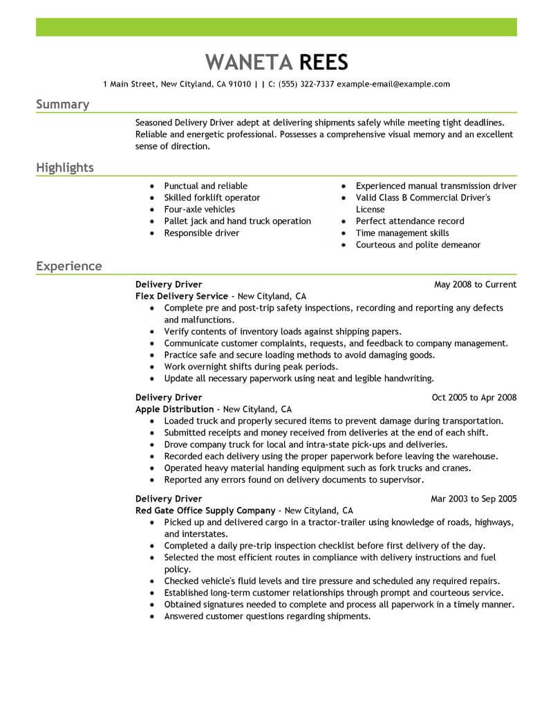 professional delivery driver resume examples driving livecareer responsibilities Resume Driver Responsibilities Resume