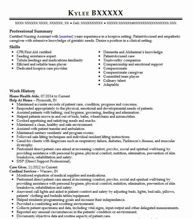 professional home health aide resume examples healthcare support livecareer job Resume Home Health Aide Job Description For Resume